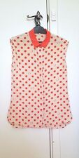OROTON silk polka dot button blouse shirt top xs 6 RRP399