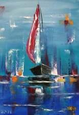 Impasto Oil Painting Sailboat Art Seascape Original Artwork Boat Painting