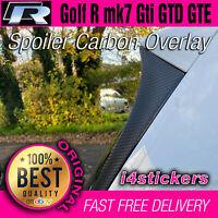 VW Mk7 Golf R Spoiler Side Carbon Fiber vinyl overlays Sticker Decal Gti GTD GTE