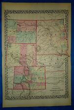 Vintage 1876 Atlas Map  COLORADO - WYOMING - DAKOTA - MONTANA Antique Original