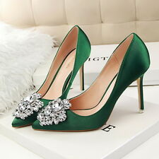 New Women Green Red Satin Point Toe Rhinestones Heels Bridal Pumps Wedding Shoes
