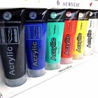 Acrylic Paint Tube Set Assorted Colour Pack White Yellow Red Green Black 6 x75ml