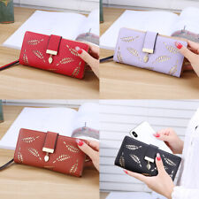 Trendy Women's Long Style Hollow Leaf Purse Student Wallet Phone Bag Card Holder