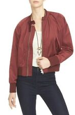 Free People Midnight Bomber Jacket Wine Red Burgundy M Front Zip satin OB570406