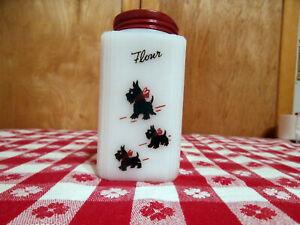 Vintage Tipp City M.G. Scotty Dog Flour Shaker 4 Inch Size
