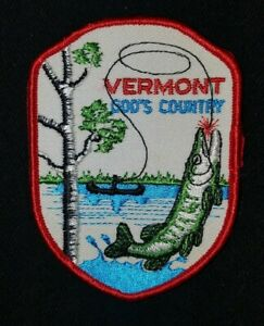 VINTAGE 1970s VERMONT Fishing Hunting travel jacket vest patch sew on