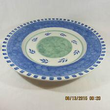 Villeroy & Boch Blue Waves chop serving platter blue check leaves green band