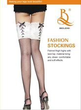 AU Sexy Chic Ladies Black Fishnet Thigh Highs Stocking&White Lace-up Top Hosiery