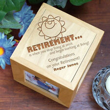 Personalized Retirement Gift Photo Cube Engraved Wood Retired Picture Frame Cube