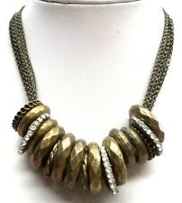 "Tone Rhinestone 25"" Necklace! 6571J Stunning Vintage Estate Chunky Gold"
