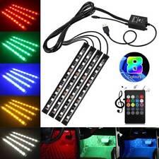 4pcs Car Interior Floor Atmosphere Decor 9LED RGB Colorful USB Port Strip Light