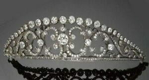 925 Sterling Silver Head Jewelry CZ Vintage Style White Round Handmade Tiara