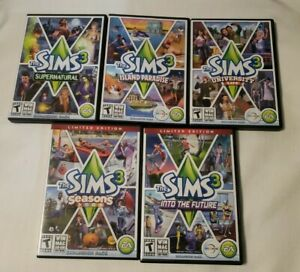 Lot Of 5 Sims 3 Expansion Packs For PC University, Supernatural, Seasons, Island