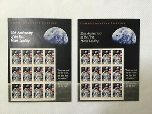 MOON LANDING 25TH ANNIVERSARY 29 CENT US POSTAGE STAMP SHEET OF 12 ~ LOT OF 2