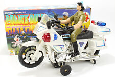 VINTAGE POLICE BIKE MOTORCYCLE MOTO TOY ACTION LIGHTS GOLDLOK CHINA 10''