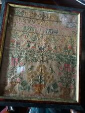 ANTIQUE NEEDLEPOINT SAMPLER TAPESTRY-CHILD AGE 11 1800-CROSS STITCH