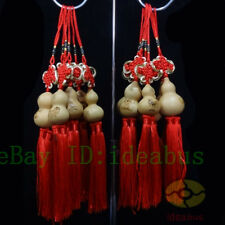 (lot)12PCS Chinese Twelve Zodiac Natural Gourd with Knot & Tassel ornaments
