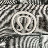 Lululemon Scuba Hoodie Full Zip Jacket Cotton Gray White Skinny Stripe Women's S