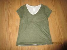 New! Women's Green & Creme Double Layer Scoop Neck Short Sleeved Shirt Top Sz XS