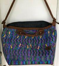 💎 Handtasche Guatemalan Huipil Nubuck Leather Tote Travel Bag Handbag Weekender