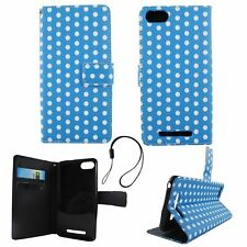 Protective Cover For Wiko Lenny 3 Polka Dot Blau Pouch Book Style Wallet