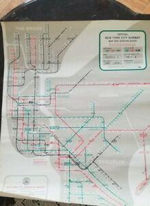 Rare 1958 Vtg. NYC New York City Subway Map and Station MTA  Guide NYCTA