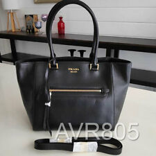Prada 1BG227 Nero Black Glace Calf Leather Large Shopping Tote Brand New