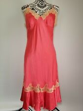Victoria Secret 100% SILK Lingerie Long Gown Pink Coral Lace Sexy Glamorous