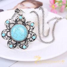 Retro Tibetan Jewelry Natural Turquoise Tibetan Silver Flower Necklace Pendant