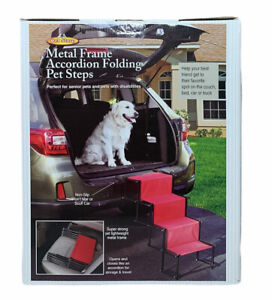 NEW Portable Dog Car Step Stairs Accordion Metal Frame Folding Pet Ramp 4 Steps