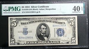 $5  1934  SILVER CERTIFICATE  Fr. 1650 DA Block PMG 40 EPQ EXTREMELY FINE