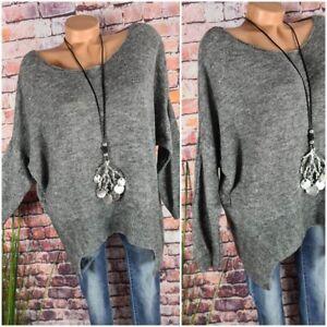 Vokuhila Oversize Pullover  Italy KidMohair Wolle Mix GRAU 36 38 40 42