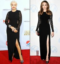 New $5,000.00 Michael Kors Collection Black Lace Long Maxi Dress Gown IT 40 US 4