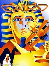 Egypt Cairo Sphinx Pyramids Egyptian Vintage Travel Advertisement Art Poster