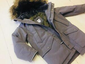 Gap Boys Winter Parka Coat Down Jacket Small S 6-7 6 7 Gray Girls Fur Winter