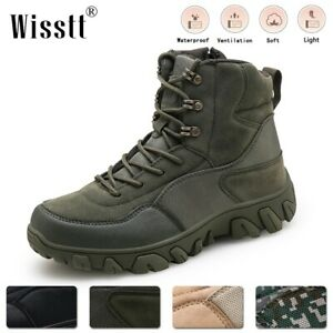 Wisstt Mens Non Slip Military Tactical Boots Waterproof Army Desert Hiking Shoes