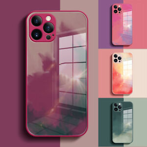 For iPhone 12/Pro/Max 11 Marble Shockproof Hard Hybrid Tempered Glass Case Cover