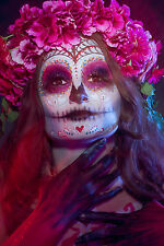 BEAUTIFUL MEXICAN SUGAR SKULL CANVAS PICTURE #34 STUNNING GOTHIC MAKE UP CANVAS