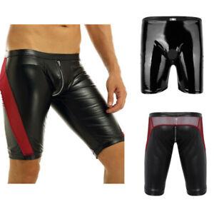 Men's Faux Leather Shorts Jammer Pants Zipper Crotch Mesh Tight Boxer Underwear