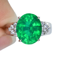 GREEN EMERAL DOUBLET OVAL RING SILVER 925 UNHEATED 6.30 CT 12.3X10.1 MM. SIZE 6