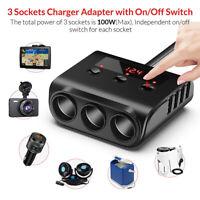 3 Way 4 USB Charger Car Cigarette Lighter Adapter Multi Socket Splitter 12V-24V