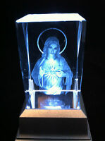 Jesus Sacred Heart - 3D Laser Etched Crystal Block With Clear LED Light base