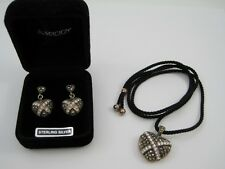 925 Silver Earrings Necklace Marcasite Pave Heart Locket QVC Suspicion Set Bag