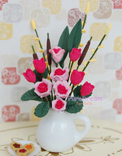 1:12 DOLLHOUSE MINIATURE CLAY POTTED PLANT PINK ROSE WHITE VASE OP024