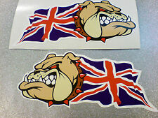 BRITISH BULLDOG & UNION JACK Car Van Motorcycle Stickers Decals 2 off 100mm