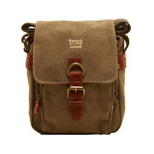 Troop London - Brown Canvas Classic Messenger/Body Bag with Leather Trim