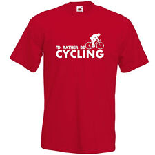 I'D RATHER BE CYCLING Mens Joke Funny cyclist bicycle bike T Shirt Tee Top Gift