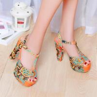 Sweet Women's Bohemia T-Strap Peep Toe Pump Sandal Platform High Heel Shoes Size