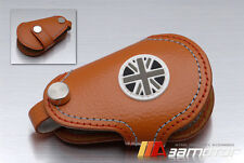 Union Jack in B & W Remote Tan Genuine Leather Key Cover for BMW MINI Cooper S