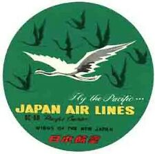 JAPAN Airlines    Vintage-1950's Looking   Sticker/Decal/Luggage Label